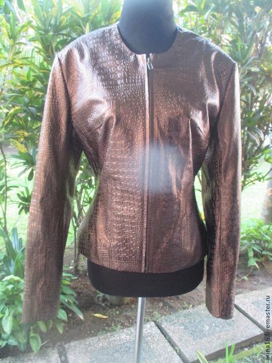 Верхняя одежда ручной работы. Ярмарка Мастеров - ручная работа. Купить Жакет кожаный.. Handmade. Коричневый, куртка кожаная