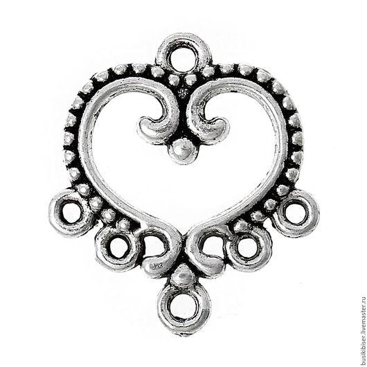 """Для украшений ручной работы. Ярмарка Мастеров - ручная работа. Купить Коннектор """"Сердце"""" - античное серебро, 19мм x 21мм. Handmade."""