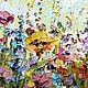Яркая картина маслом лето весна разноцветные цветы в спальню на заказ маслом. Картина с цветами цветочная картина художник Марина Маткина купить заказать картину Москва Питер Екатеринбург