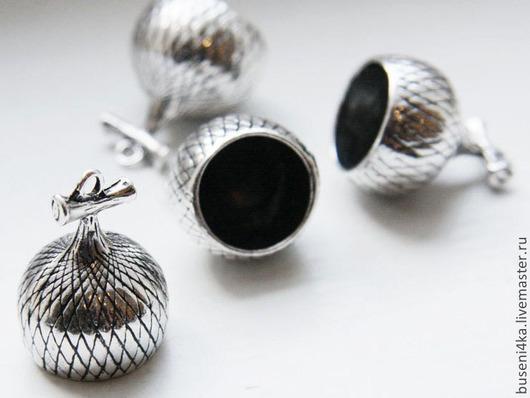 Для украшений ручной работы. Ярмарка Мастеров - ручная работа. Купить Шапочка-подвеска Желудь №2, античное серебро (1шт). Handmade.