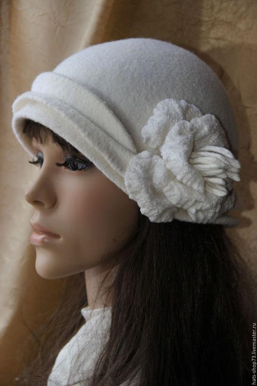 Шляпы ручной работы. Ярмарка Мастеров - ручная работа. Купить Валяная шляпка Белоснежный цветок. Handmade. Белый, женская шляпка