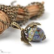 Украшения handmade. Livemaster - original item Acorn pendant oak leaves brass lampwork. Handmade.