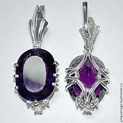 Украшения handmade. Livemaster - original item Earrings with amethyst and CZ. 925 sterling silver PR.. Handmade.