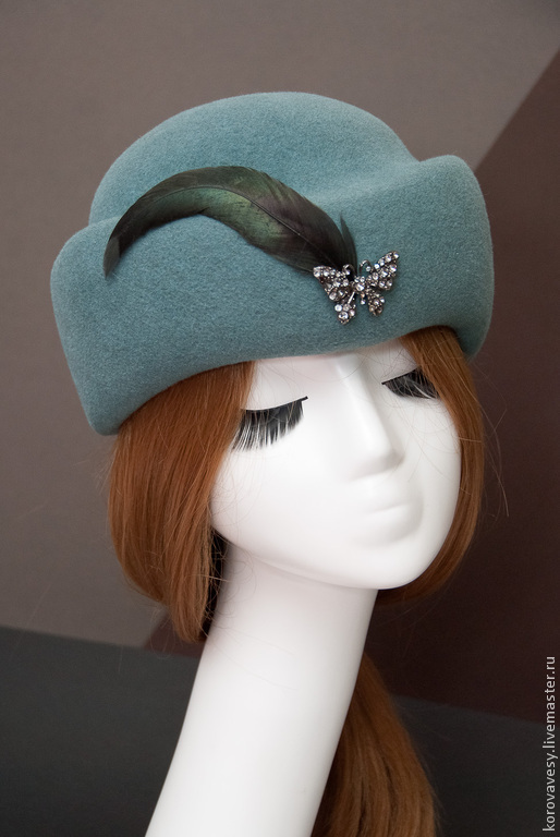 """Шляпы ручной работы. Ярмарка Мастеров - ручная работа. Купить """"Дыхание весны"""". Handmade. Тёмно-бирюзовый, велюровая шляпка, велюр"""