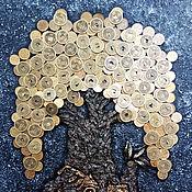 Панно ручной работы. Ярмарка Мастеров - ручная работа Панно объёмное денежное дерево избушка китайские монеты. Handmade.