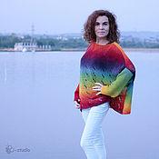 Одежда ручной работы. Ярмарка Мастеров - ручная работа Радуга Вязаный шерстяной свитер оверсайз из кауни Большие размеры. Handmade.