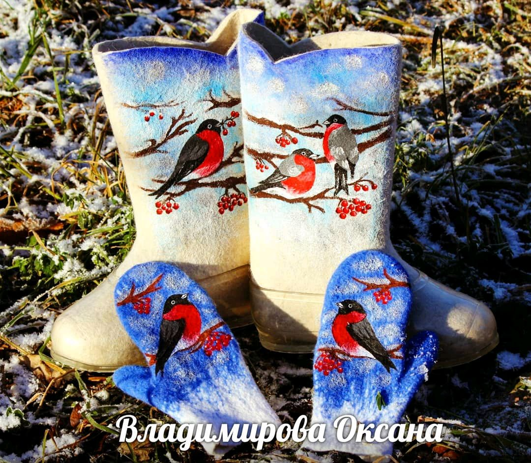Valenki 'BULLFINCHES', a set of felted boots with mittens, Felt boots, Cheboksary,  Фото №1