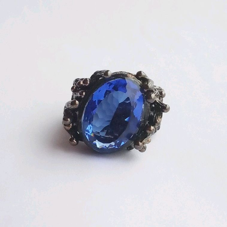 17R. Large silver ring with tanzanite, black and blue, Rings, Kaluga,  Фото №1