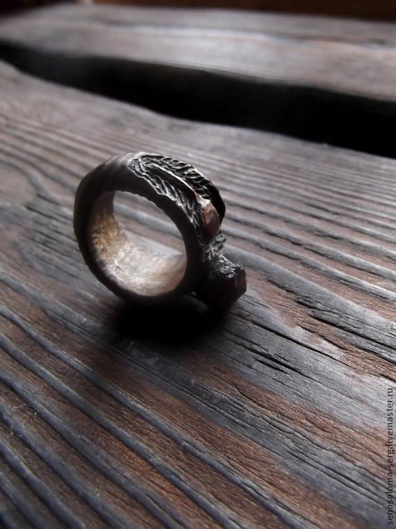 """Кольца ручной работы. Ярмарка Мастеров - ручная работа. Купить Кольцо """"Гранатовый кап"""". Handmade. Резьба, шоколадный цвет, дерево"""