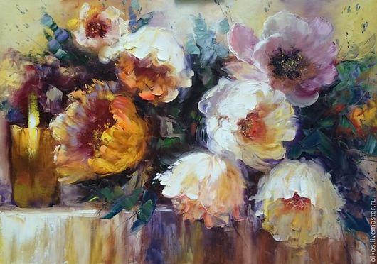 Картины цветов ручной работы. Ярмарка Мастеров - ручная работа. Купить Подарок женщине на 8 марта спб - картина маслом с цветами. Handmade.