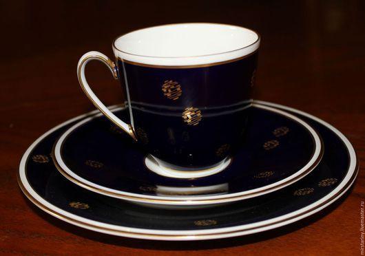 Винтажная посуда. Ярмарка Мастеров - ручная работа. Купить Чайное трио с золотым орнаментом, кобальт, WEIMAR, Германия. Handmade. кобальт