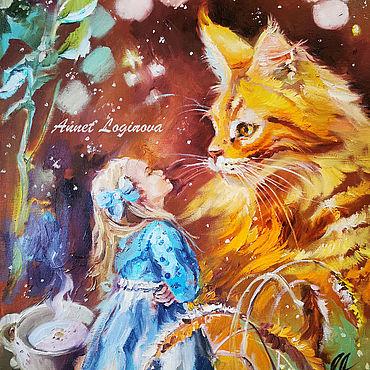 Картины и панно ручной работы. Ярмарка Мастеров - ручная работа Алиса и рыжий кот  - сказочная картина. Handmade.