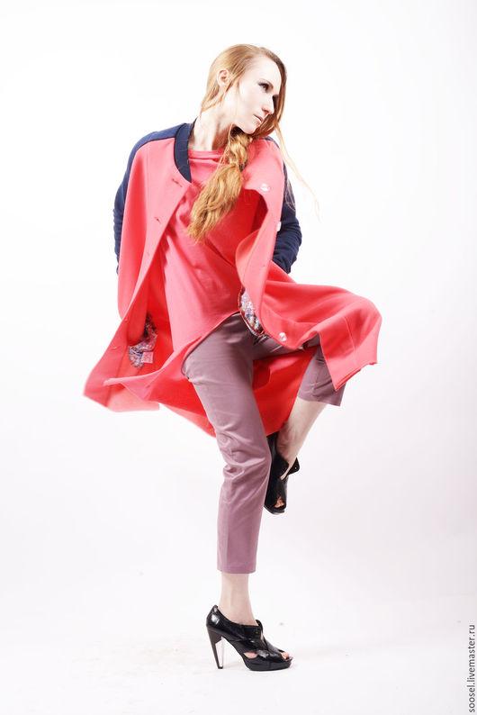 """Верхняя одежда ручной работы. Ярмарка Мастеров - ручная работа. Купить Пальто """"Lucy"""". Handmade. Коралловый, спорт, дизайнерская одежда"""
