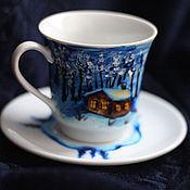 """Подарки к праздникам ручной работы. Ярмарка Мастеров - ручная работа Чайная пара """"Зимняя ночь"""". Handmade."""
