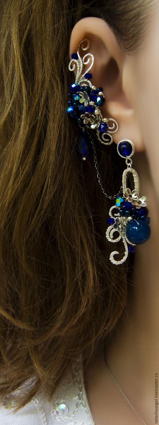 """Каффы ручной работы. Ярмарка Мастеров - ручная работа. Купить Синие серьги кафф """"Ночь в саду"""" (украшения с цветами, темно синий цвет. Handmade."""