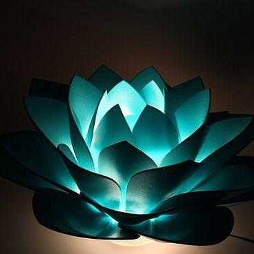 Для дома и интерьера ручной работы. Ярмарка Мастеров - ручная работа Бирюзовый лотос ночник светильник в спальню Цвет морской волны. Handmade.