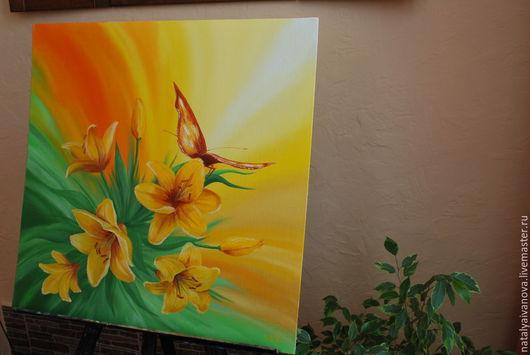 """Картины цветов ручной работы. Ярмарка Мастеров - ручная работа. Купить Картина маслом """"Лилии""""с багетом. Handmade. Разноцветный, лилии"""