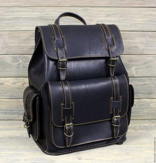 Рюкзаки ручной работы. Ярмарка Мастеров - ручная работа. Купить Рюкзак из жёсткой кожи, артикул 0465. Handmade. Кожаный рюкзак