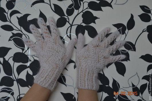Варежки, митенки, перчатки ручной работы. Ярмарка Мастеров - ручная работа. Купить Перчатки вязаные женские пуховые Веточка. Handmade.