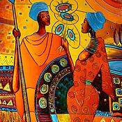 """Картины и панно ручной работы. Ярмарка Мастеров - ручная работа Витраж""""Жаркая Африка"""". Handmade."""