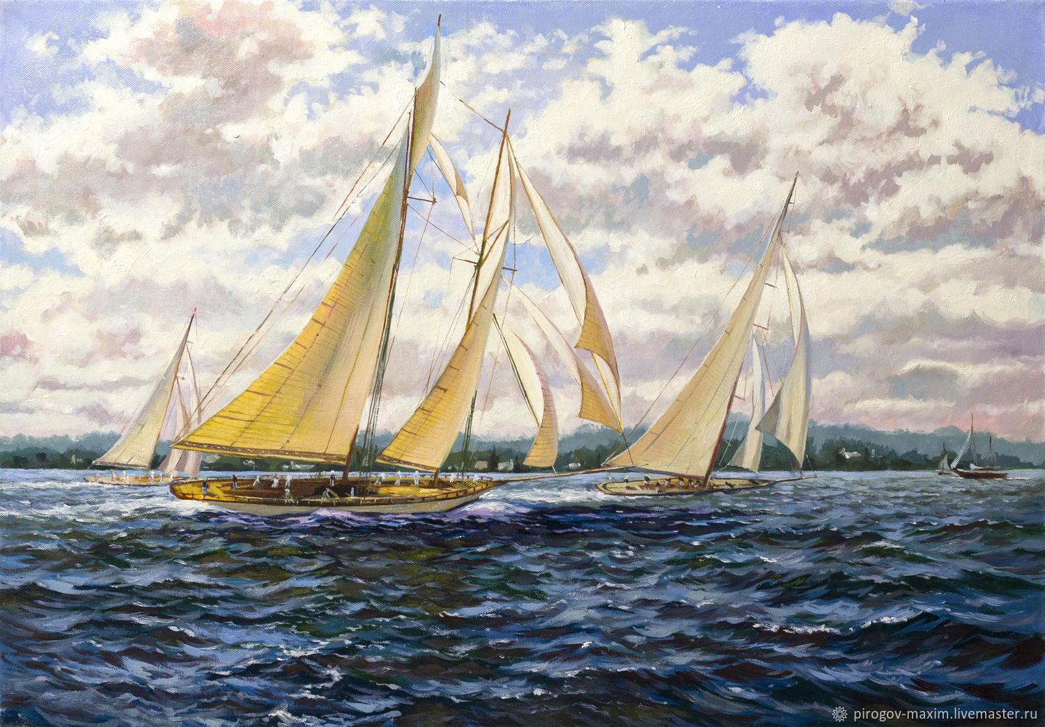 Oil painting on canvas Regatta. Sailboats on the waves Buy paintings, Pictures, Samara,  Фото №1