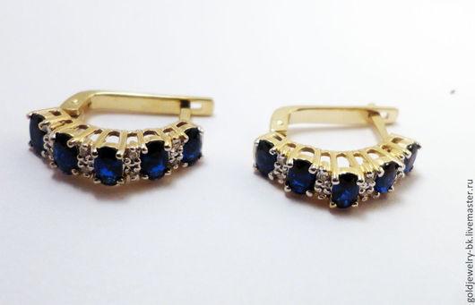 Серьги ручной работы. Ярмарка Мастеров - ручная работа. Купить Золотое бриллиантовые кольцо серьги с Сапфиром 585 пробы. Handmade.