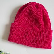 handmade. Livemaster - original item Mohair cap with lapel fuchsia mohair cap with elastic band. Handmade.