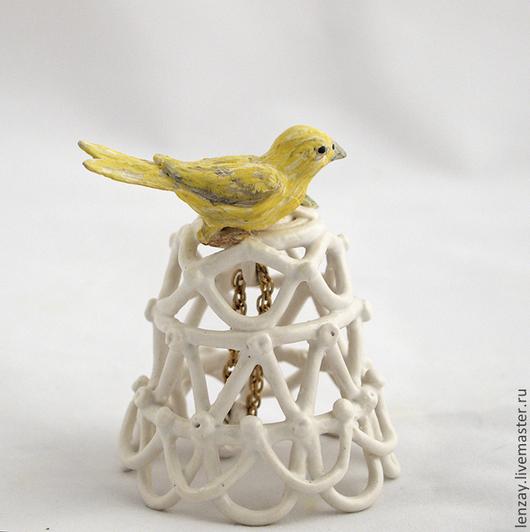 Колокольчик Канарейка. Украшение на елку. Керамика Елены Зайченко