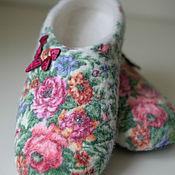 Обувь ручной работы. Ярмарка Мастеров - ручная работа Тапочки - Роза на снегу. Handmade.