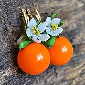 """Украшения ручной работы. Ярмарка Мастеров - ручная работа Серьги лэмпворк """"Orange"""". Handmade."""