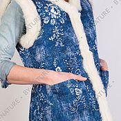 """Одежда ручной работы. Ярмарка Мастеров - ручная работа Жилет из натуральной овчины """"Гжель"""". Handmade."""