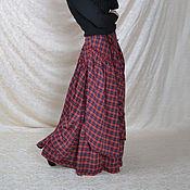 Одежда ручной работы. Ярмарка Мастеров - ручная работа Юбка в бохо стиле красная клетка с нашивными частями.. Handmade.