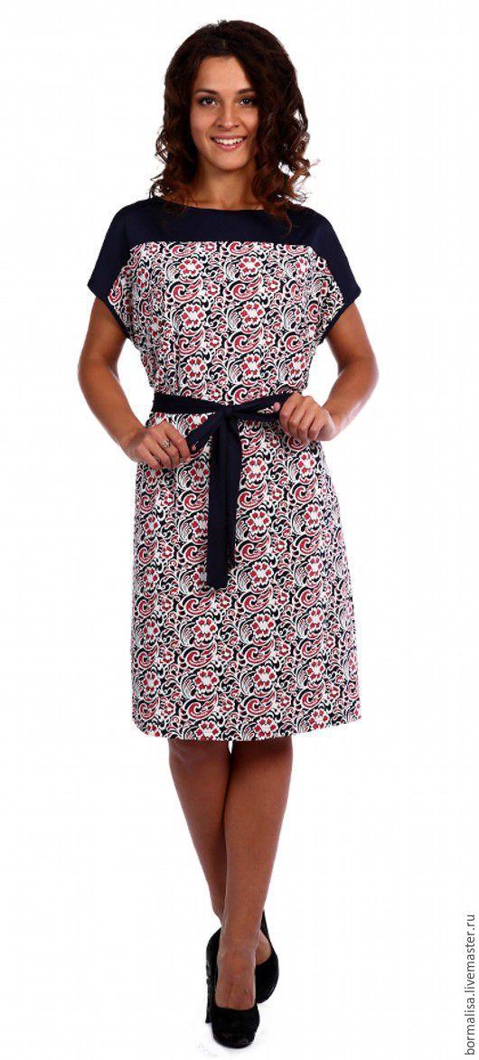 Платья ручной работы. Ярмарка Мастеров - ручная работа. Купить Платье на поясе. Handmade. Комбинированный, платье, женское платье