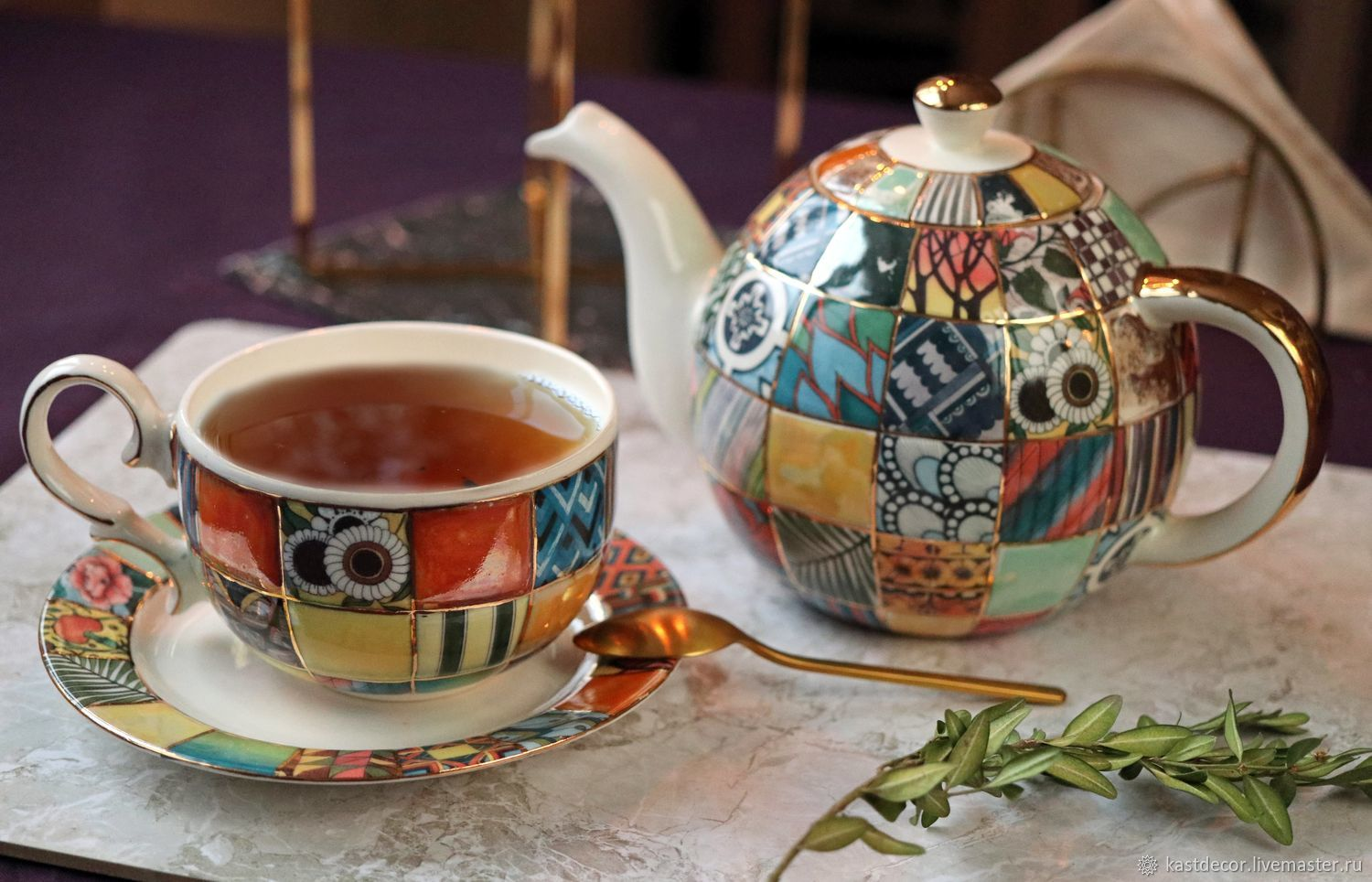 teacups: Cup and saucer porcelain 'Patchwork', Single Tea Sets, Moscow,  Фото №1
