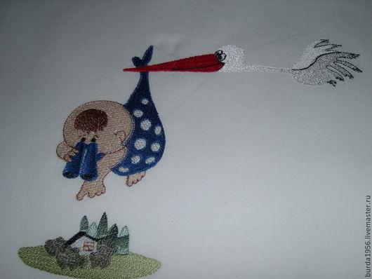 """Детская ручной работы. Ярмарка Мастеров - ручная работа. Купить Комплект постельного белья"""" Малыш и аист"""". Handmade. Ребенок, малыш"""