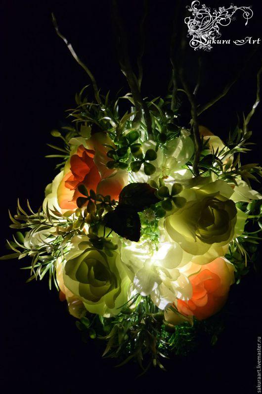"""Освещение ручной работы. Ярмарка Мастеров - ручная работа. Купить Ночник """"Персиковый сад"""". Handmade. Комбинированный, ночник, ночник в подарок"""