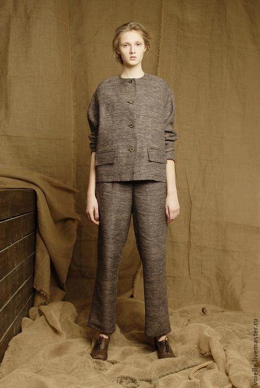 Summer Suit Brown Business Pant Womens Linen купить на Ярмарке Мастеров 5vbidcom Костюмы