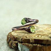 Украшения handmade. Livemaster - original item Ring 16,0-17,5 with peridots. Handmade.