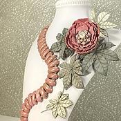 Украшения handmade. Livemaster - original item Pearl - Dawn Breeze. Necklace and brooch. Rhodonite, leather. Handmade.