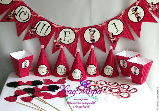Праздничная атрибутика ручной работы. Ярмарка Мастеров - ручная работа. Купить Набор для оформления дня рождения в стиле Микки Маус (Минни Маус). Handmade.
