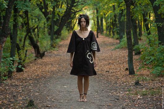 Платья ручной работы. Ярмарка Мастеров - ручная работа. Купить Льняное платье Мокко. Handmade. Платье, вечерние платья, этно