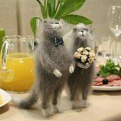 Мягкие игрушки ручной работы. Ярмарка Мастеров - ручная работа Свадебные коты. Handmade.