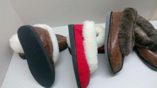 Обувь ручной работы. Ярмарка Мастеров - ручная работа. Купить Меховые тапочки на подошве. Handmade. Домашние тапочки, тапочки мужские