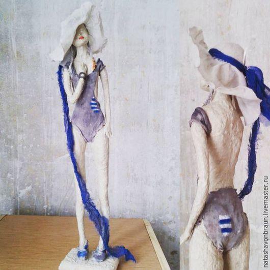 Коллекционные куклы ручной работы. Ярмарка Мастеров - ручная работа. Купить Воспоминания о лете. Handmade. Синий, скульптура, полоски, девушка