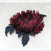 Цветы и флористика handmade. Livemaster - original item Silk flowers. Brooch Astra Bordeaux.. Handmade.
