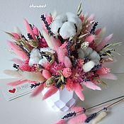 Композиции ручной работы. Ярмарка Мастеров - ручная работа Розовая композиция из сухоцветов.. Handmade.