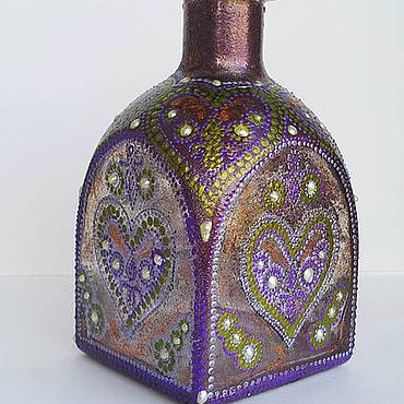 Посуда ручной работы. Ярмарка Мастеров - ручная работа Декоративное оформление бутылка Сердечки. Handmade.