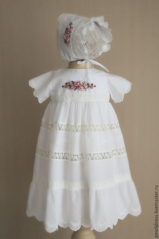 Крестильные принадлежности ручной работы. Ярмарка Мастеров - ручная работа. Купить Крестильное платье. Handmade. Белый, цветочный, крестильное платье