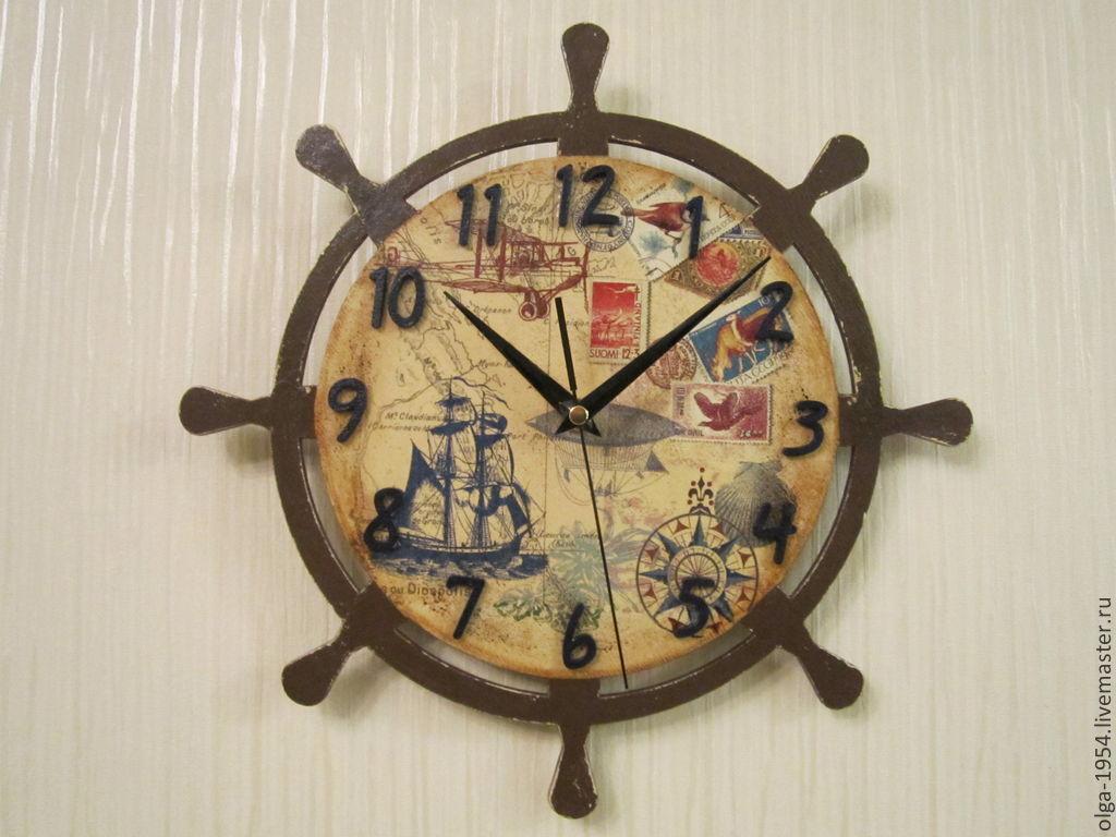 """Часы """"Море в сердце моем"""" круглые деревянные настенные, Часы для дома, Москва, Фото №1"""