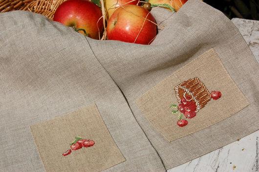 """Кухня ручной работы. Ярмарка Мастеров - ручная работа. Купить Набор льняных мешочков """"Наливные яблочки"""". Handmade. Бежевый"""